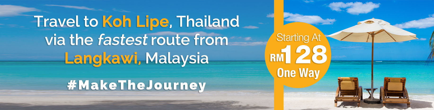 Travel to Koh Lipe, Thailand via the fastest route from Langkawi, Malaysia starting at RM128 one way. #makethejourney